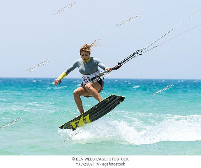Woman doing kitesurfing. Tarifa, Cadiz, Costa de la Luz, Andalusia, Spain