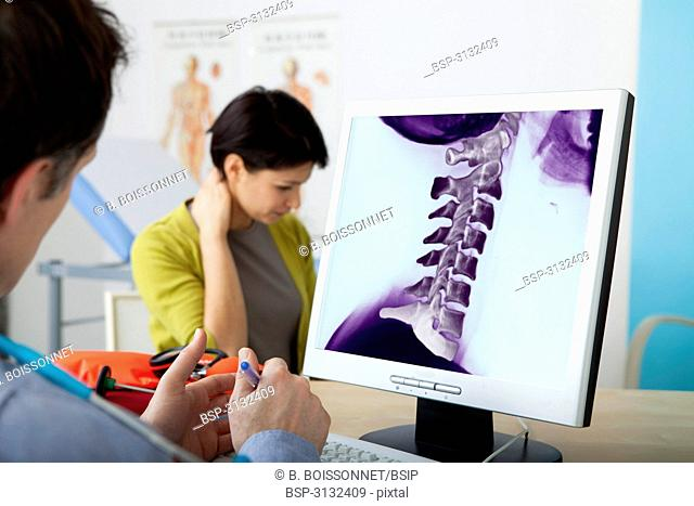 ORTHOPEDICS CONSULTATION WOMAN Models. On screen, colorized x-ray of cervical vertebrae
