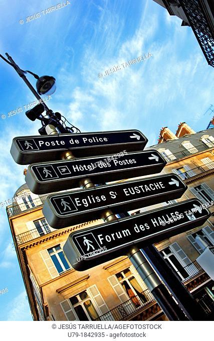 Pedestrian signage  Paris  France