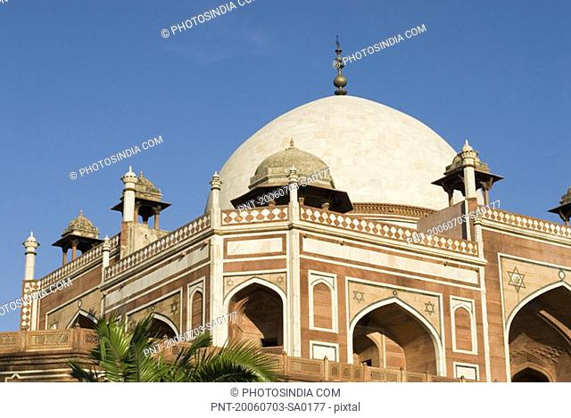 Low angle view of the dome of a monument, Humayun Tomb, New Delhi, India
