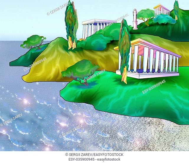 Digital Painting, Illustration of a Legendary Ancient City Atlantis Near a Mediterranean Sea. Cartoon Style Character, Fairy Tale Story Background, Card Design