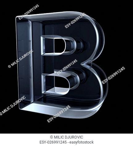 Transparent x-ray letter B. 3D render illustration on black background