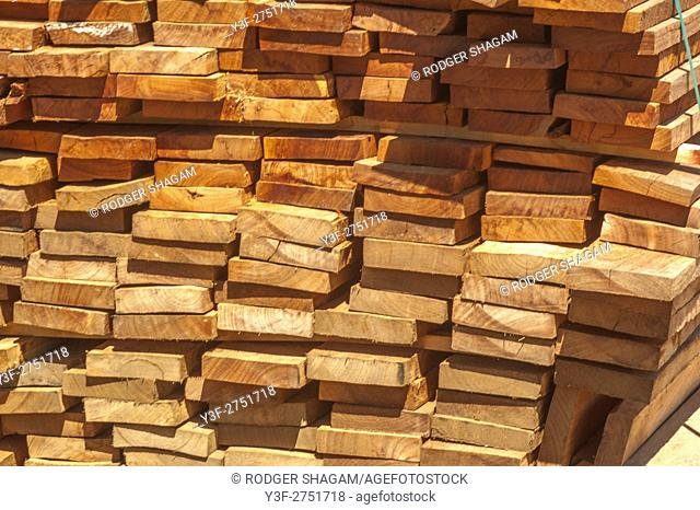 Stacked wooden planks at a sawmill. Cape Town, South Africa