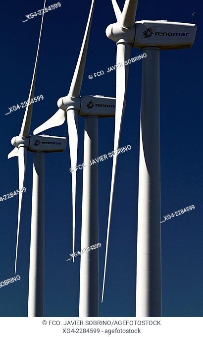 Wind farm in Villafranca del Cid - Maestrazgo - Maestrat - Castellon province - Comunidad Valenciana - Spain - Europe
