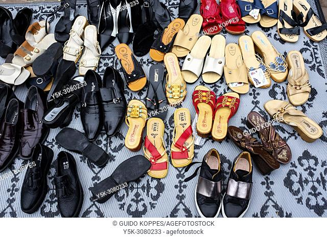 Rotterdam, Netherlands. Obsolete and Worn Shoes, Shoes and Shoes on sale during the annual Kingsday Freemarket down town