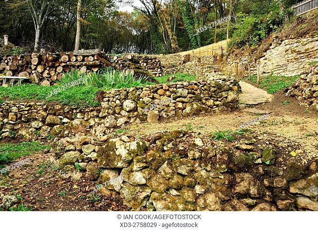 ancient vegetable garden, Village de la Madeleine, Dordogne Department, Aquitaine, France