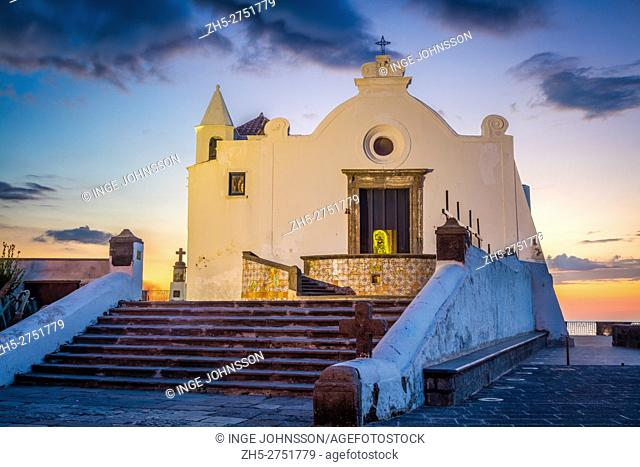 The church Chiesa del Soccorso in Forio on the island of Ischia, Italy. Forio (known also as Forio of Ischia) is a town and comune of c