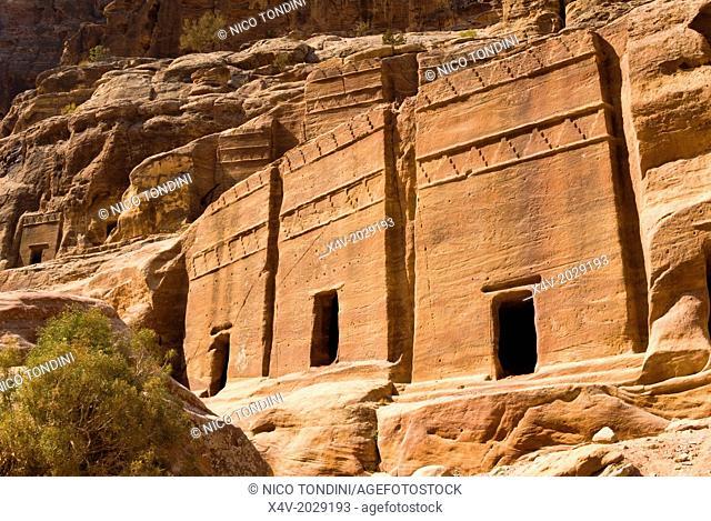 Necropolis, Facade Street, Petra, UNESCO Heritage Site, Jordan, Middle East