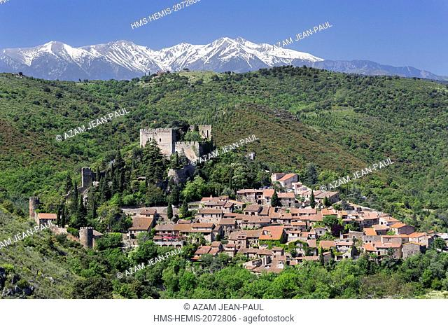 France, Pyrenees Orientales, Castelnou, labelled Les Plus Beaux Villages de France (The Most beautifoul Villages of France) and Canigou peak