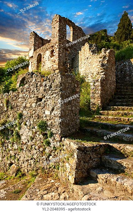 Mystras established in 1205 after the conquest of Constantinople during the Fourth Crusade by Prince William II Villehardouin & capital of the Byzantine...