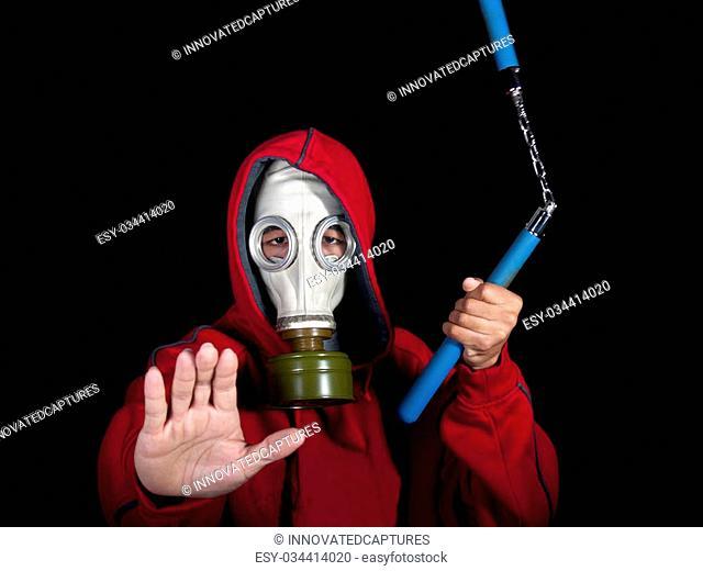 super hero or villain wearing a gas mask