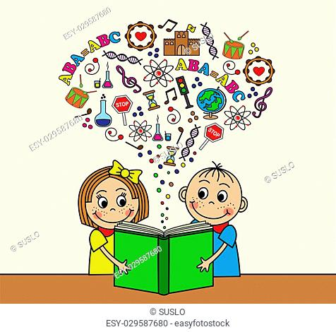 Cartoon boy and girl reading a book while sitting at a table. Depart from the book pictures, letters, signs and symbols of knowledge