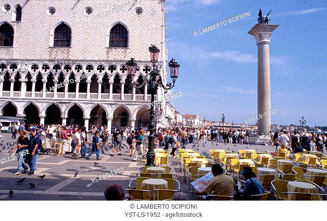 People, pigeons, Piazza San Marco, Venice, Italy
