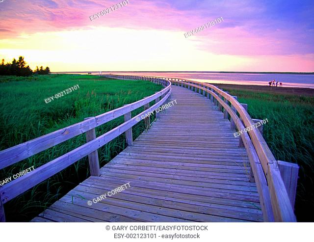 a boardwalk at Kelly's Beach Kouchibouguac National Park New Brunswick Canada