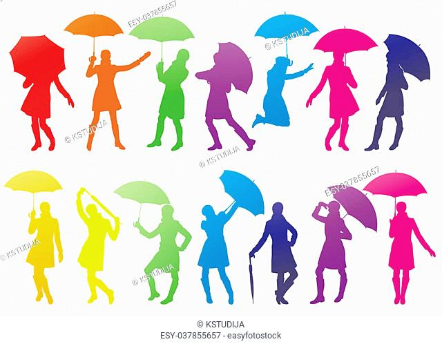 Girl with umbrella abstract vector background