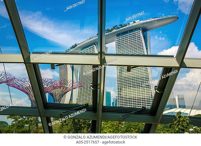 Marina Bay Sands Hotel. From Gardens By The Bay. Singapore. Asia