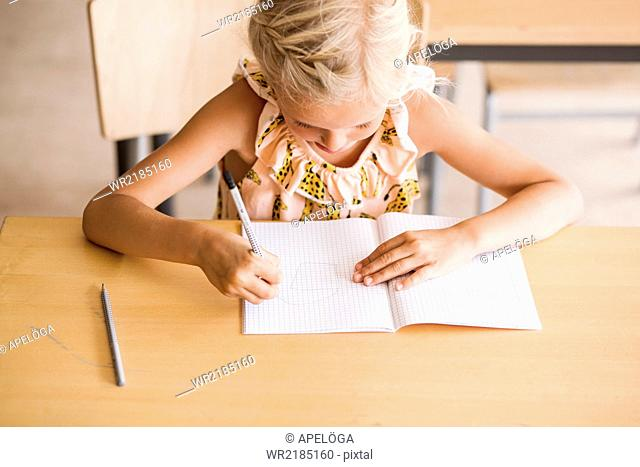 Girl writing in book at desk in classroom