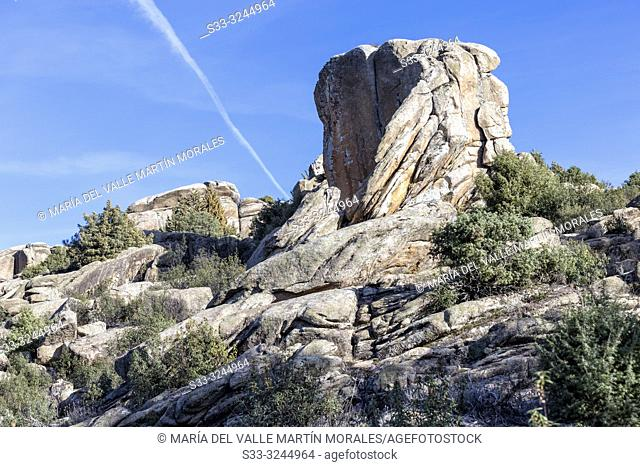 Granite cliffs to climb at Fig Tree hill in the Pedriza Regional Park. Madrid. Spain. Europe