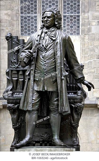 Johann Sebastian Bach monument at St. Thomas Church, Leipzig music trail, Leipzig, Saxony, Germany, Europe