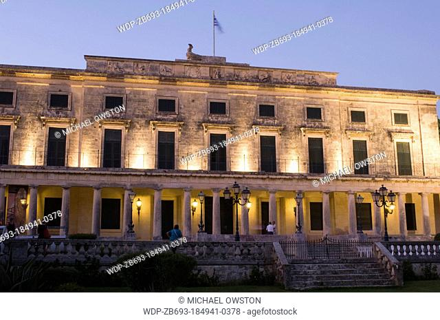 Palace of St Michael and St George at twilight Corfu Town Corfu Greece