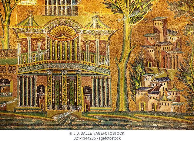 Syria, Damascus. Mosaic details at The Umayyad Mosque, also known as the Grand Mosque of Damascus Arabic:    , transl  Gam' Bani 'Umayyah al-Kabir