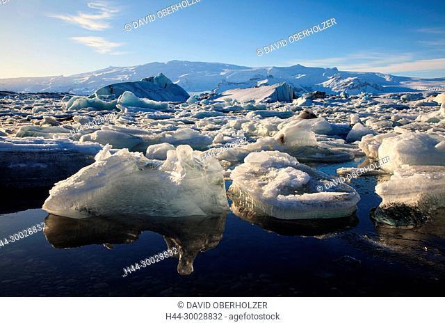 Ice, floes, Europe, glacier lagoon, Island, Jökulsarlón, sceneries, volcano island, water, winter