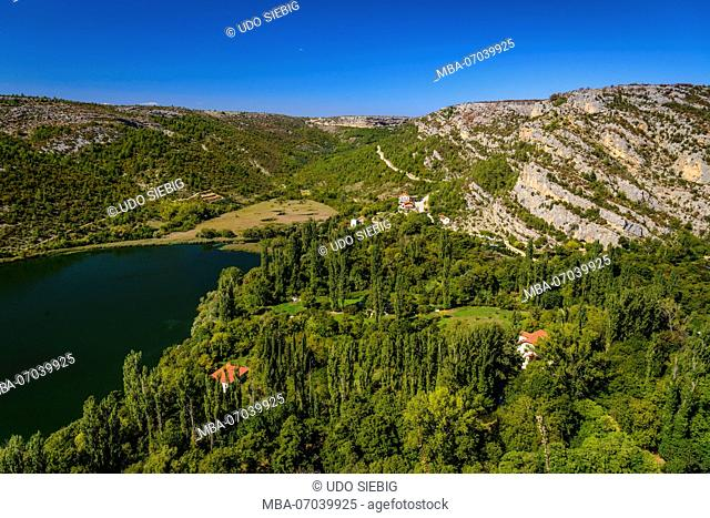 Croatia, Dalmatia, region of Sibenik, Krka National Park, Roski Slap, Visovac Lake, Krka Canyon