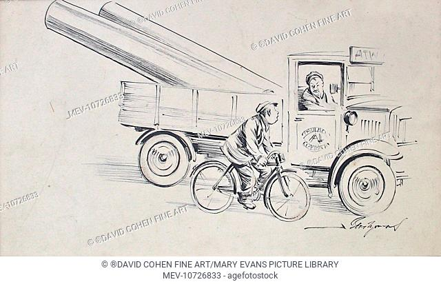 A cyclist passing a truck which is carrying two large gun barrels. Bert Thomas, Artists' Rifles (1883-1966). Thomas Was The British Artist Who Created The...