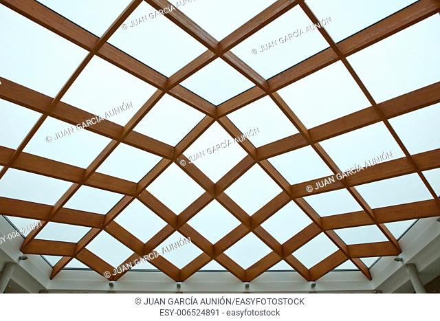 Sun-room patio area with transparent wooden ceiling
