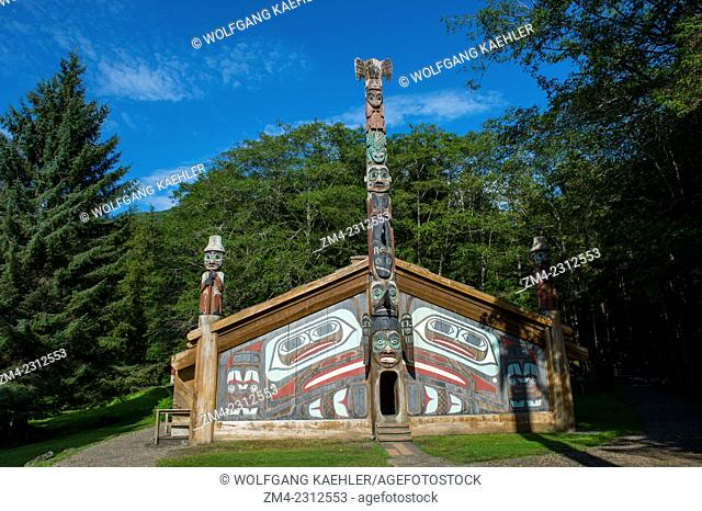 View of the clan house at the Totem Bight State Historical Park in Ketchikan, Southeast Alaska, USA