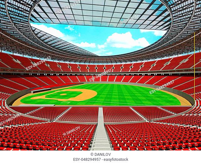 3D render of baseball stadium with red seats, VIP boxes and floodlights for hundred thousand people