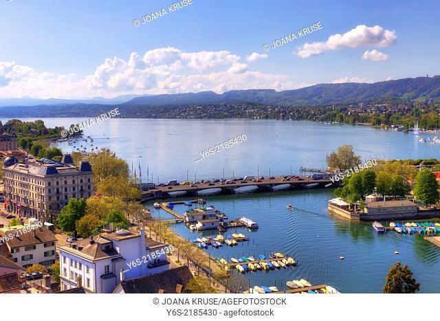 Zurich, Quaibruecke, lake Zurich, Switzerland