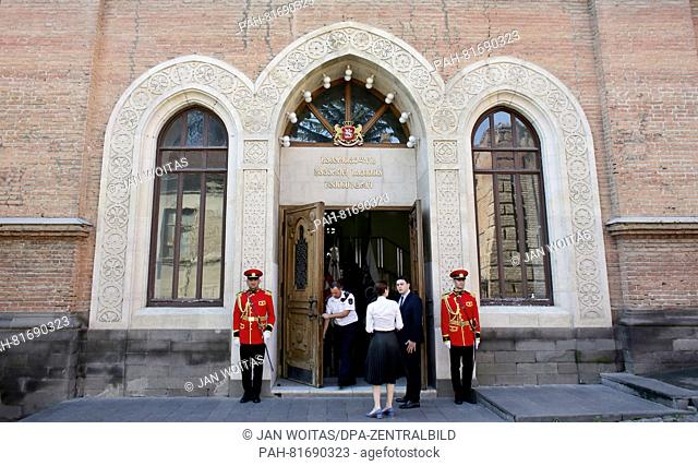 Two soldiers of the Georgian guard of honor stand in front of the the Foreign Office in Tbilisi, Georgia, 01 July 2016. German foreign minister Frank-Walter...