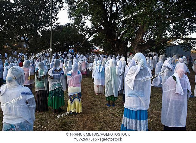 Sunday mass outside an orthodox church at Bahir Dar ( Amhara state, Ethiopia)