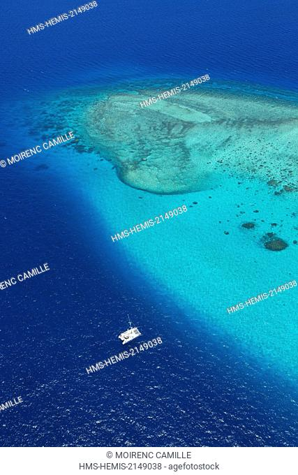 France, New Caledonia, Southern Province, Noumea, Tabou Reef Lagoon classified as a UNESCO World Heritage (aerial view)