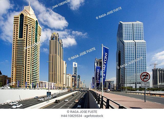 United Arab Emirates, Asia, Middle East, Arabia, East, UAE, Dubai town, city, Sheikh Zayed Road, skyline, skyscraper