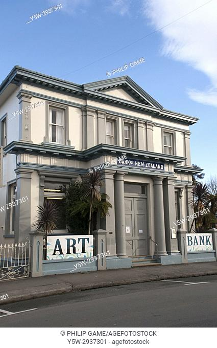 Victorian-era Bank of New Zealand building at Takaka, a farming town in the South Island, New Zealand