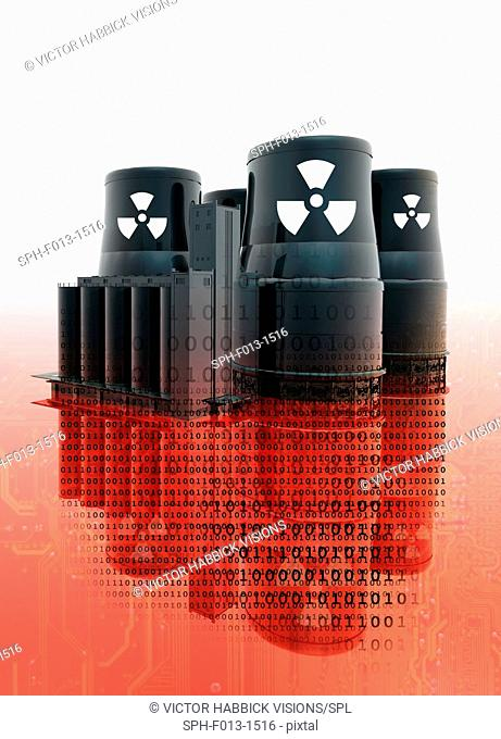 Nuclear power plant and data, illustration