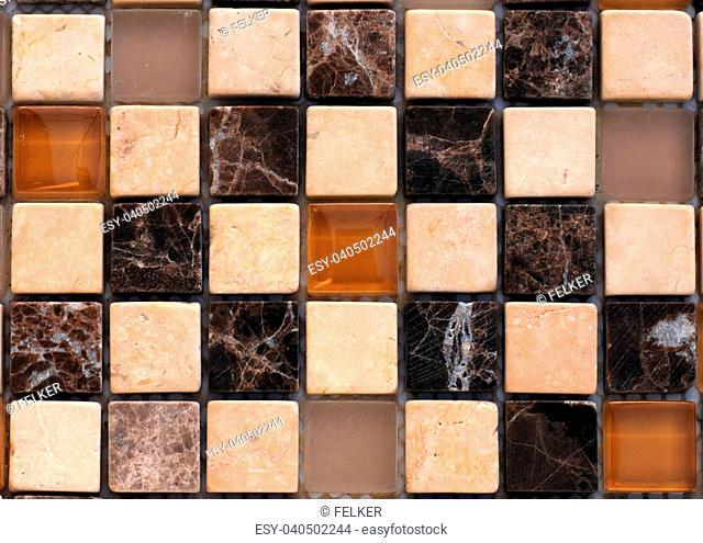 Mix stone and glass mosaic in brown and beige colors