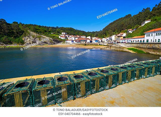 Tazones village skyline and beach of Asturias in Spain