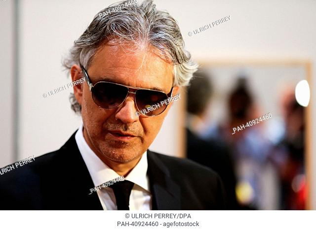 Italian tenor Andrea Bocelli is pictured after he received the Humanitarian Award 2013 of the secular service organization Lions Clubs International (LCI) for...