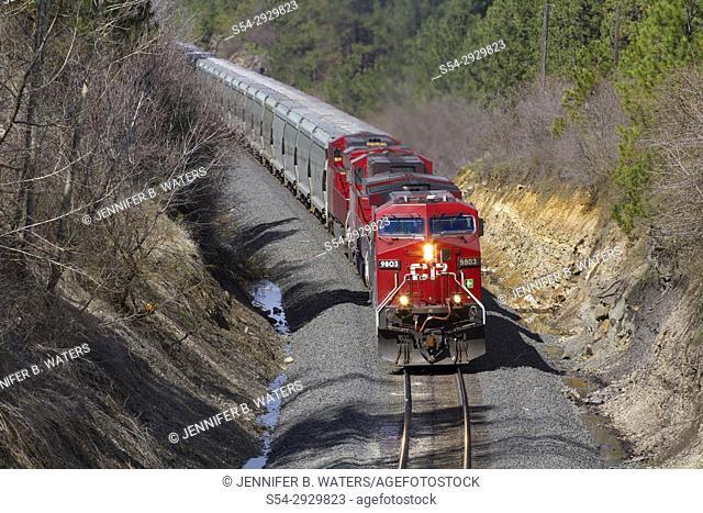 Canadian Pacific power on BNSF train in Spokane, Washington, USA