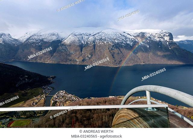 View of the Viewing platform Stegastein in the Aurlandsfjord, a branch of the Sognefjords, late winters, Sogn of Fjordane, Norway