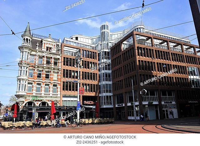 Contemporary buildings in the Rembrandtplein Rembrandt Square. Amsterdam, Netherlands