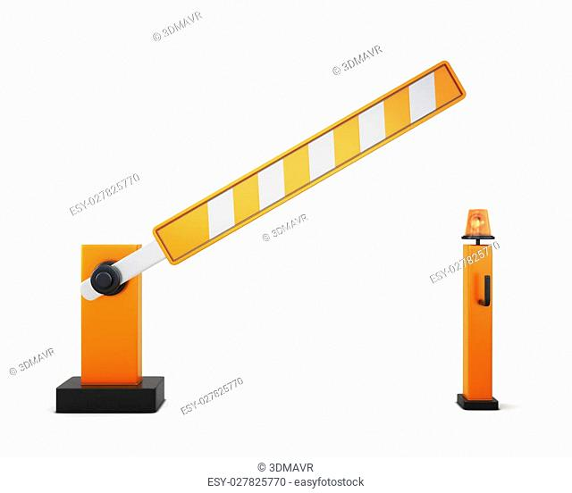 Ajar barrier isolated on white background. 3d illustration. Road elements series
