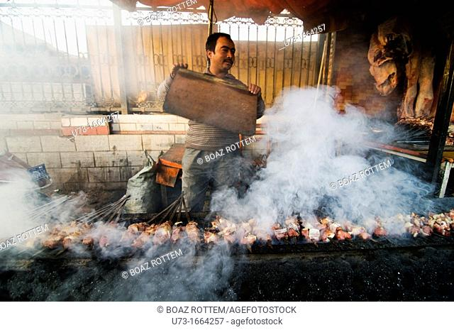 Grilling the Lamb Kebabs in Kashgar, China
