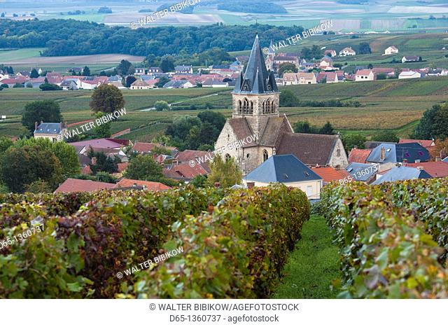 France, Marne, Champagne Ardenne, Ville Dommange, town overview with church and vineyards, dusk