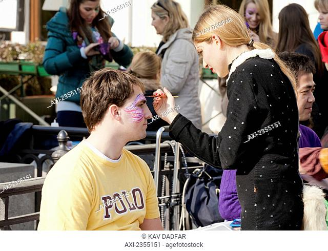 Face painting during the Venice Carnival; Venice, Italy