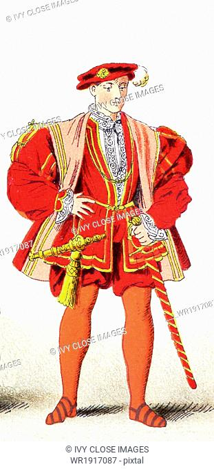 The figure pictured here represents Henry Howard, the Earl of Surrey, an English poet and courtier, in 1540. He did very well in the jousting tournaments held...