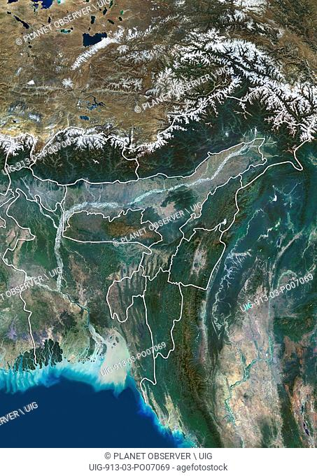 Satellite view of Bangladesh and Northeast India (with administrative boundaries). It covers the Seven Sister States and the Himalayan state of Sikkim
